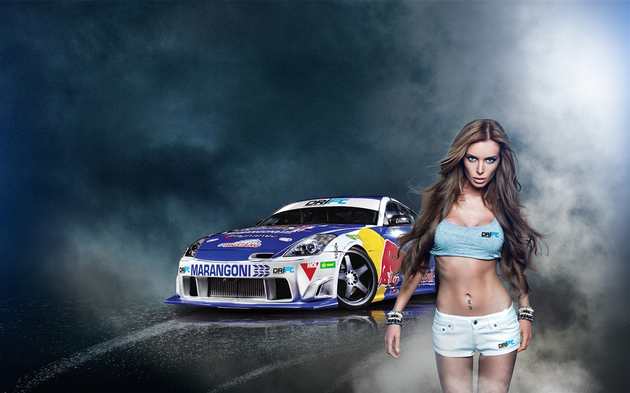 wallpaper girl with nissan 350z drift car 1920x1200 hd