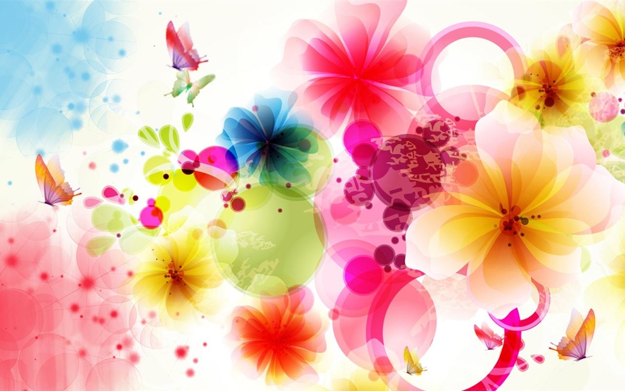 Vektor-Design Blumen und Schmetterlingen Hintergrundbilder   1280x800 ...