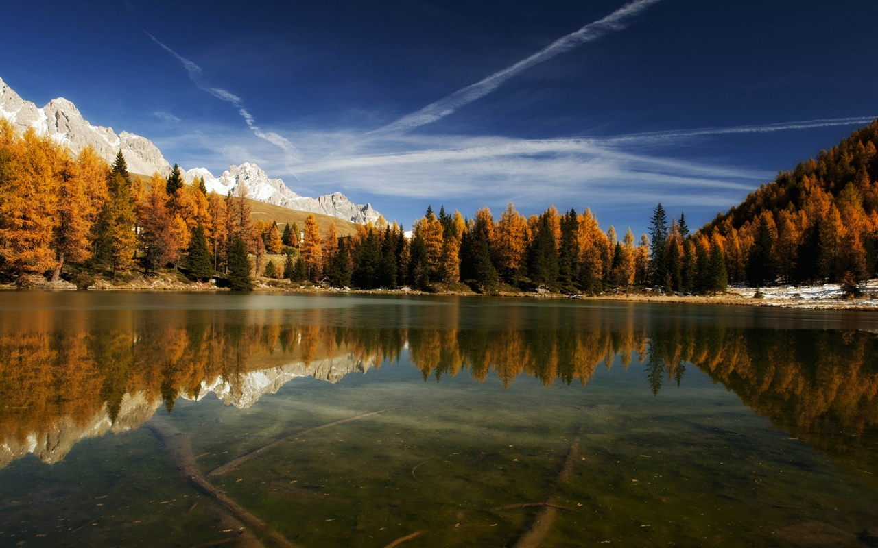 Italy nature lake mountains water reflection forest - Wallpapers 1280x800 nature ...