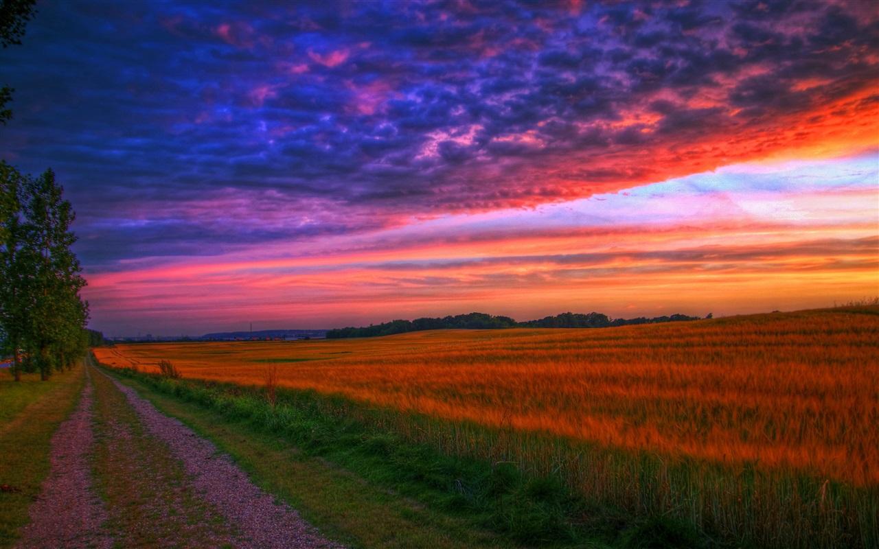 Road Sunset Wallpaper Natur Landschaft, Sonn...