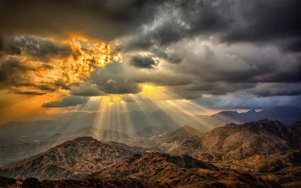 Desert wallpaper 1280x800 description sunset clouds mountains desert