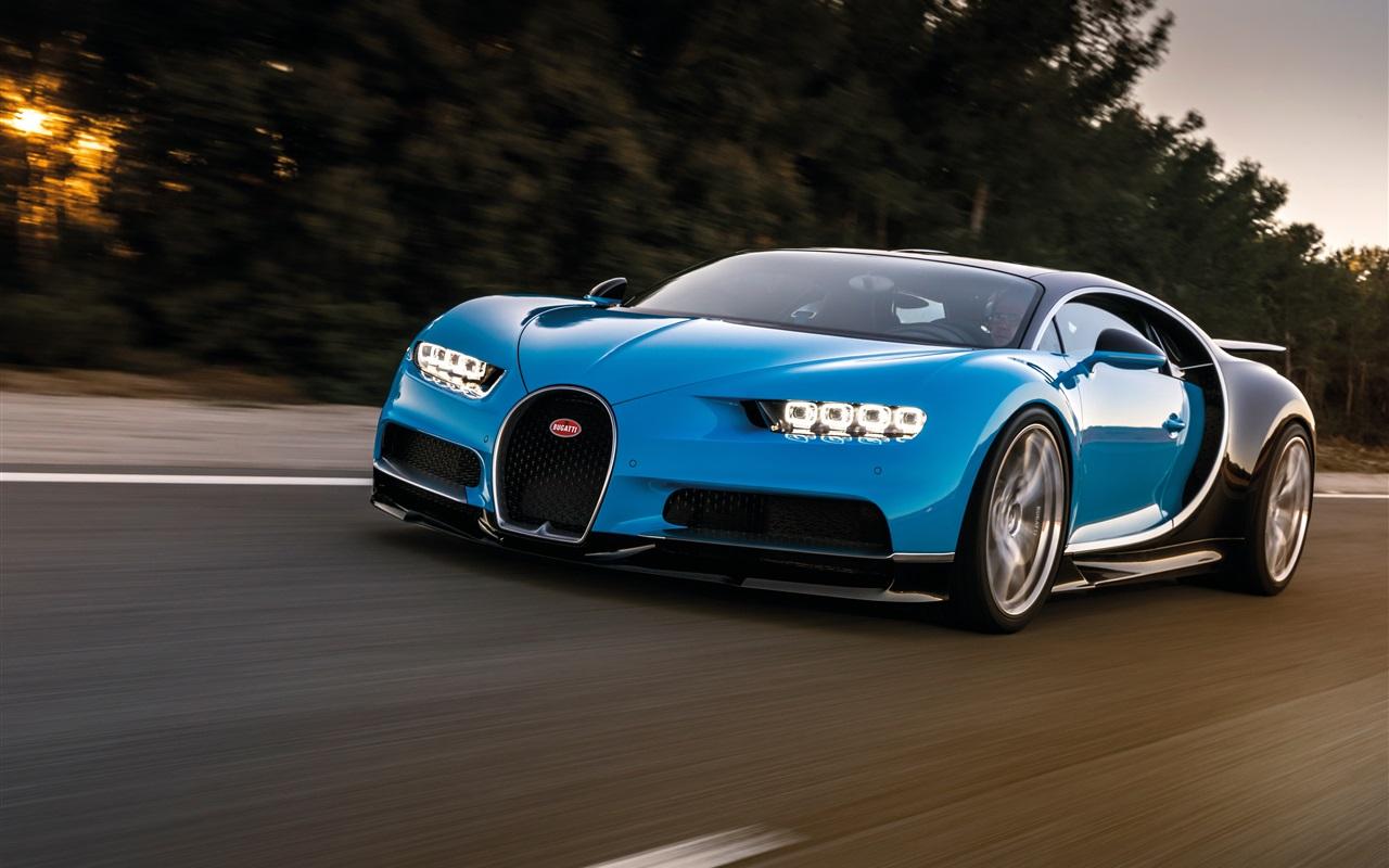 蓝色凯龙布加迪超级跑车的速度 壁纸 - 1280x800