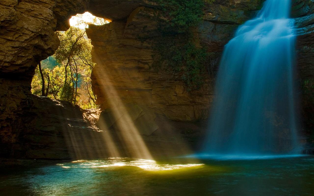 Wallpaper Cave Waterfalls Sun Rays Trees Water