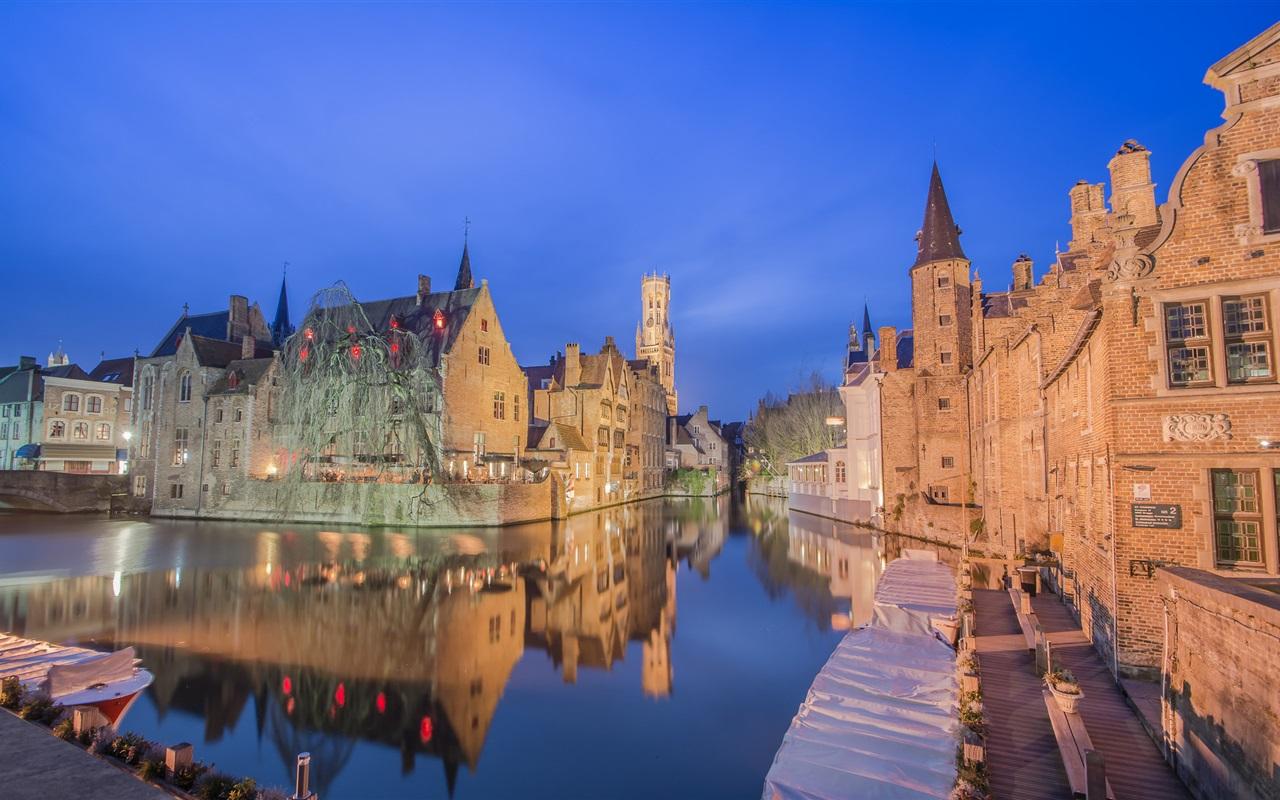 Обои канал, бельгия, брюгге, дома, ночь. Города foto 13
