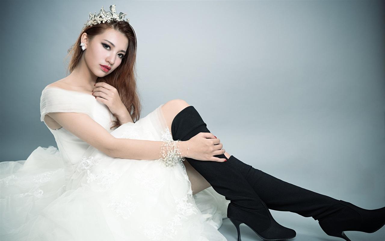 Asian girls posing as brides