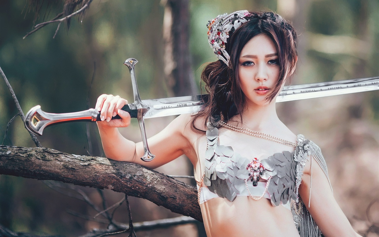 wallpaper chinese girl, sword, retro style 1920x1200 hd picture, image