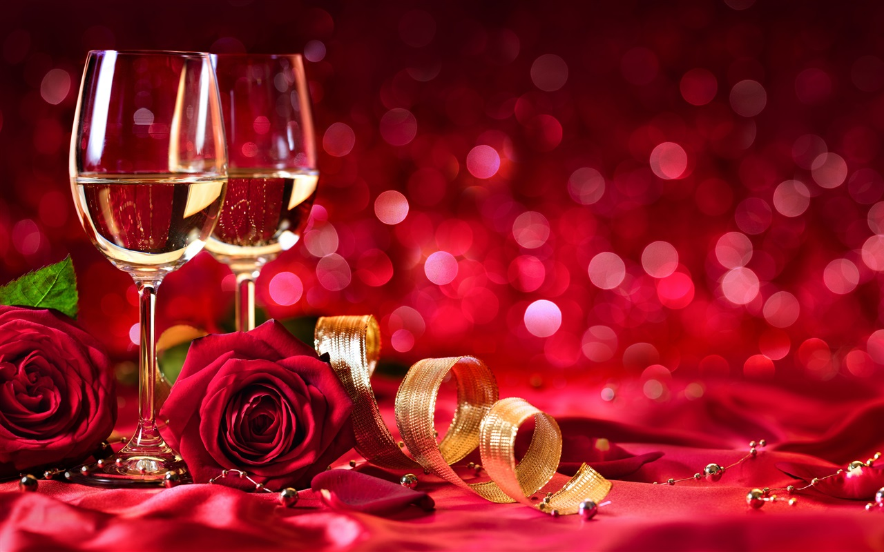 Wine, Red Roses, Shine, Red Background, Romantic Wallpaper