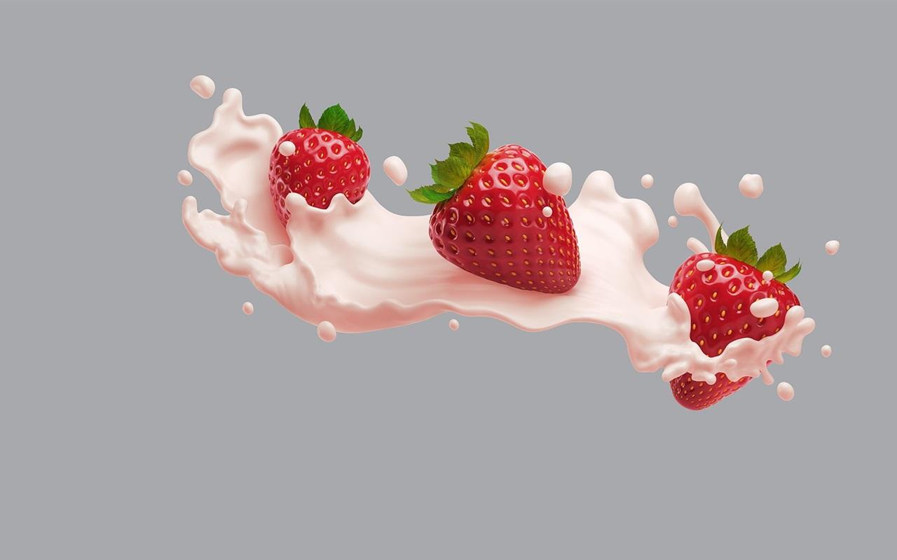 Download Wallpaper 1280x800 Strawberry, pink milk HD ...