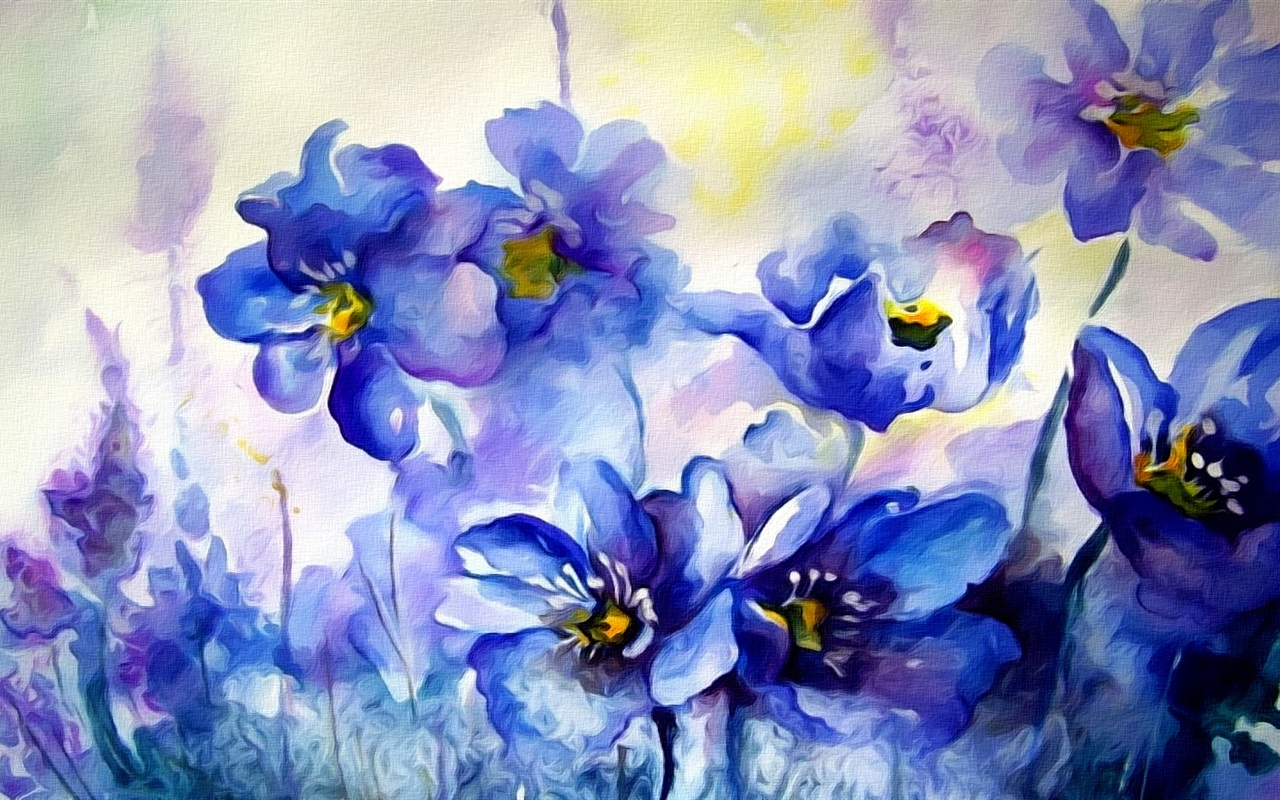 Watercolor Painting Blue Flowers 640x960 Iphone 4 4s