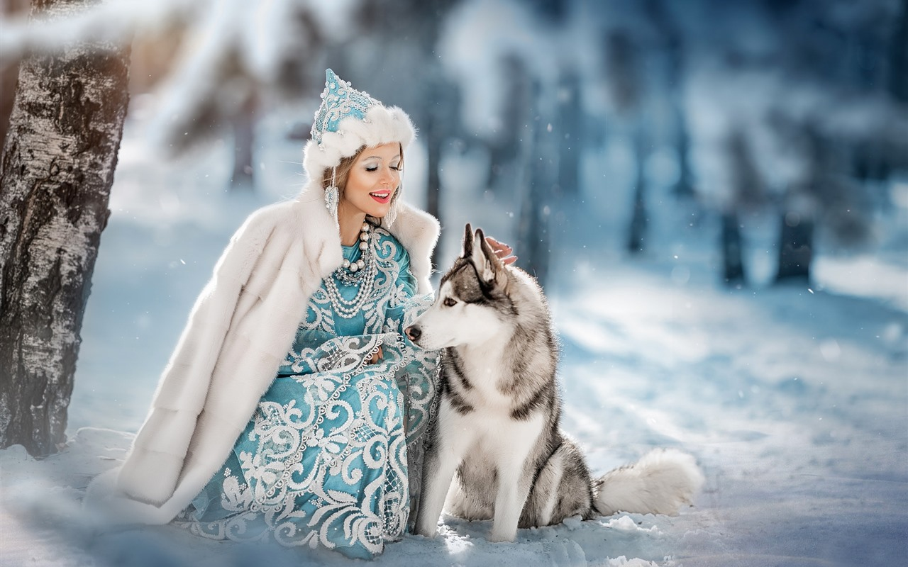 Wallpaper Girl And Wolf Friends Snow Winter 1920x1200