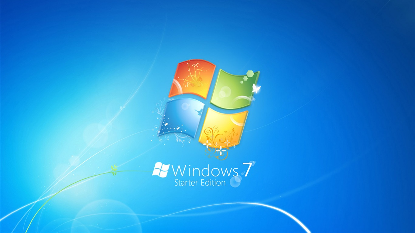 windows7桌面主题_下载桌布 1366x768 windows7 徽标主题蓝色背景 桌面
