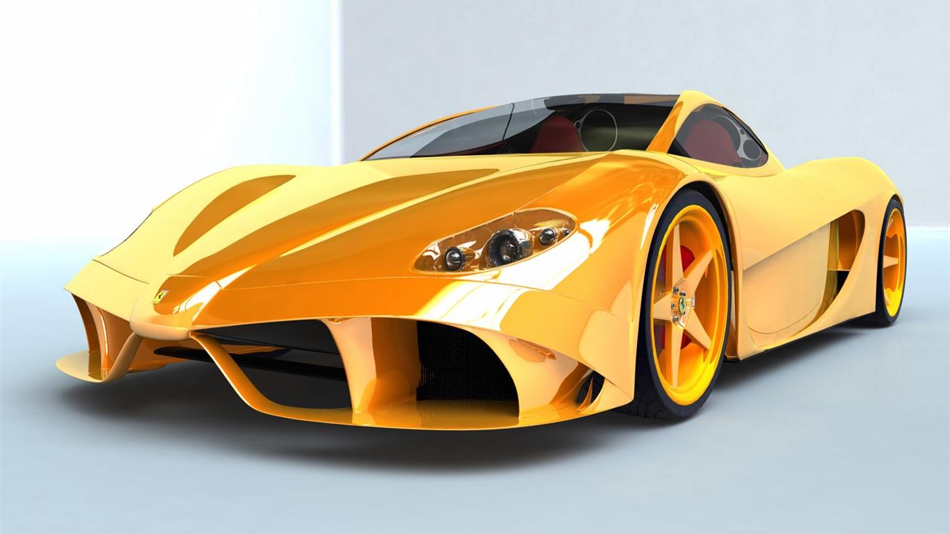 拉利黄色跑车 1366x768 壁纸下载 -法拉利黄色跑车 1366x768