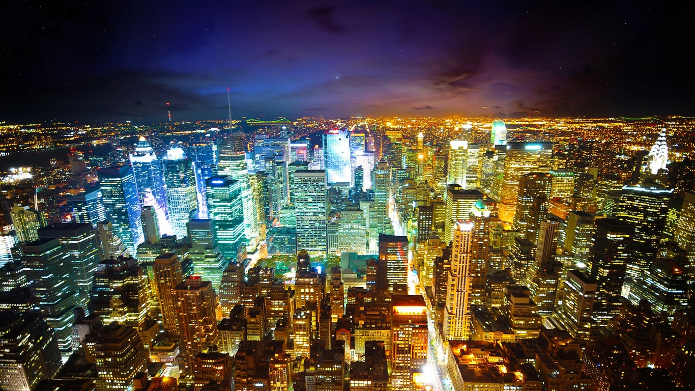 París, ciudad en la noche fondos de pantalla - 1366x768