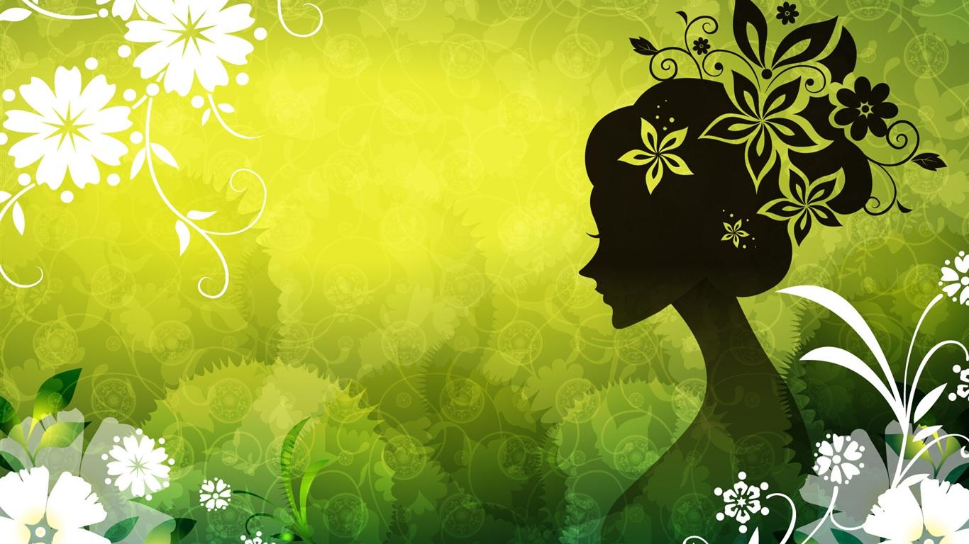 矢量女人花绿色 壁纸 | 1366x768 壁纸下载 | CN