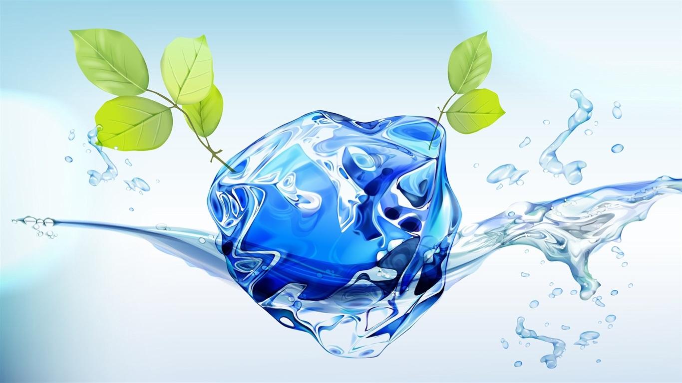 3D水与绿叶 1366x768 壁纸下载