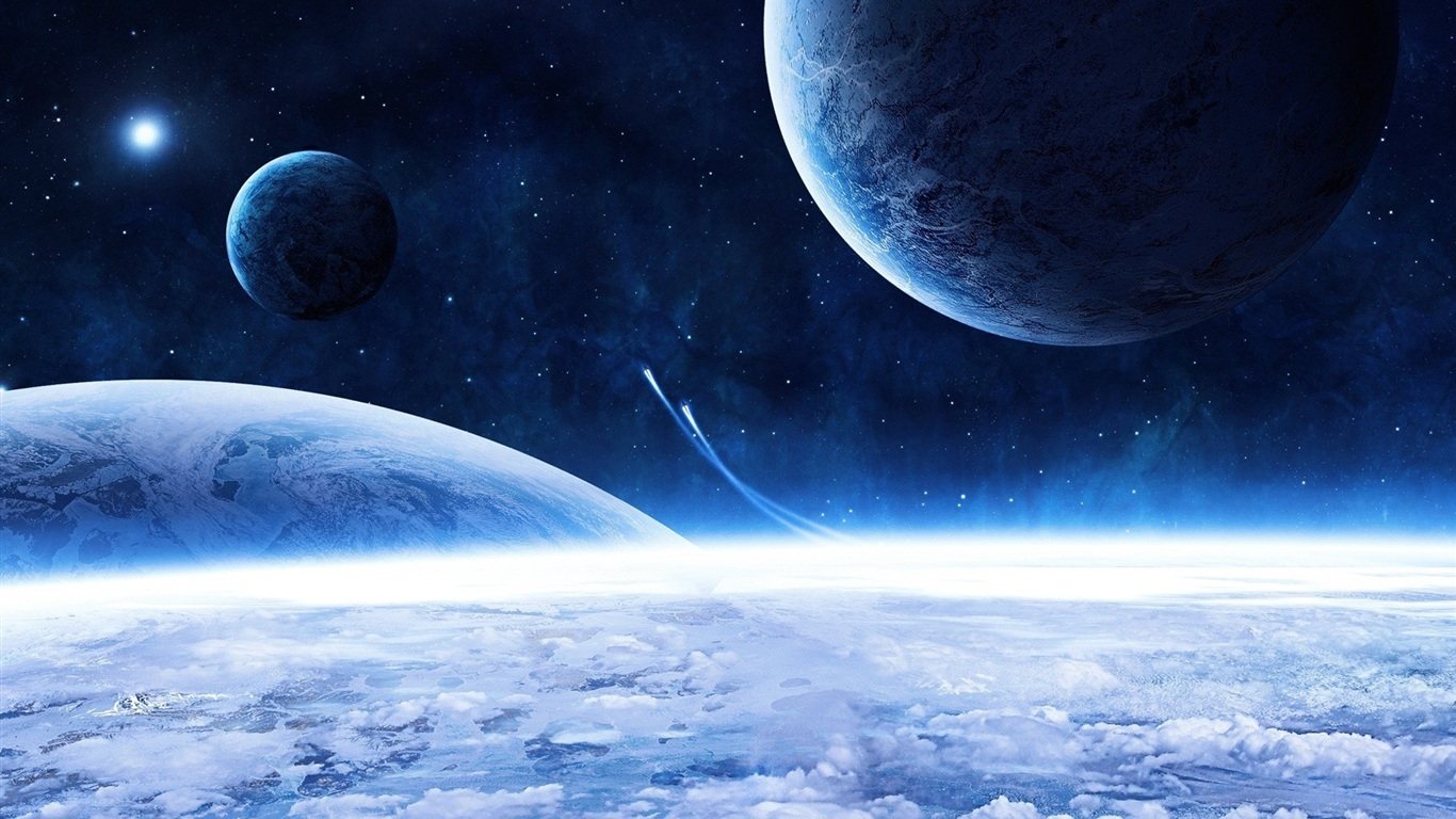 Download wallpaper 1366x768 space ship and blue planet hd for Space wallpaper 1366x768