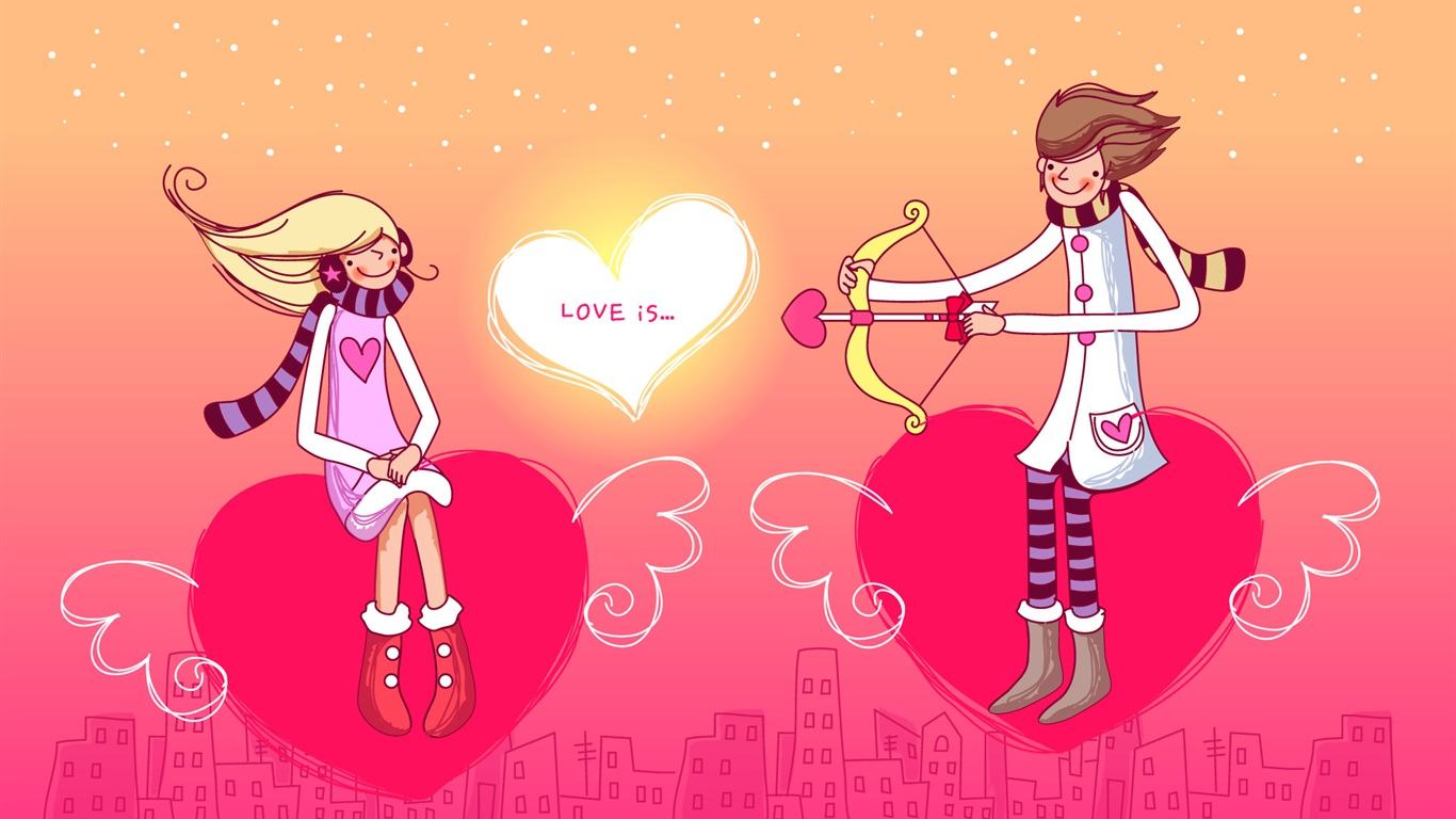 Download Wallpaper 1366x768 A boy and a girl s love heart HD Background