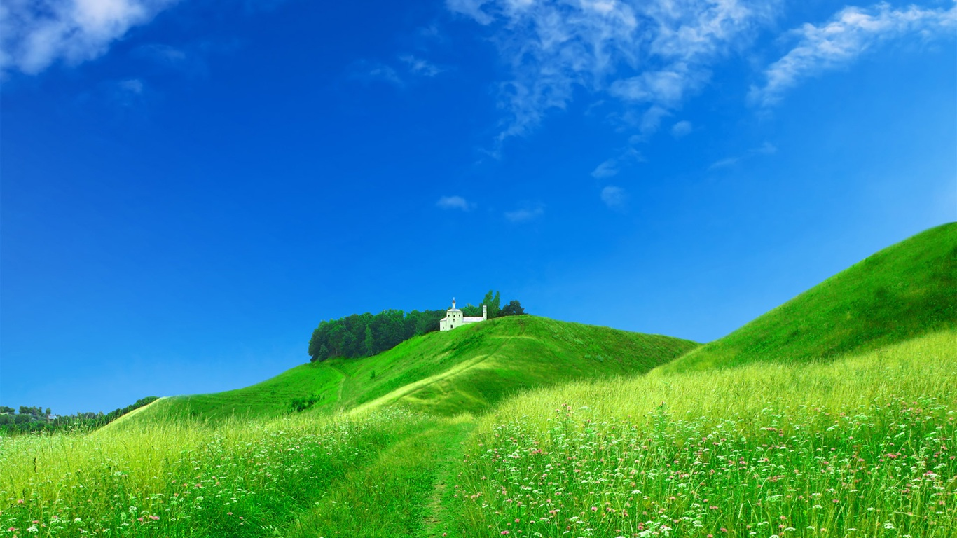 Dream home on the green hillside wallpaper - 1366x768