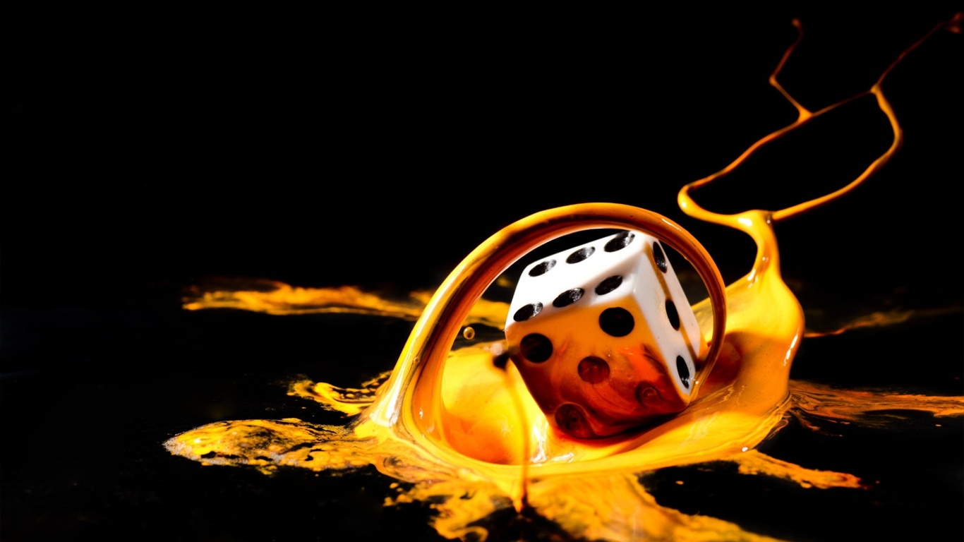 3D abstract liquid and dice wallpaper - 1366x768