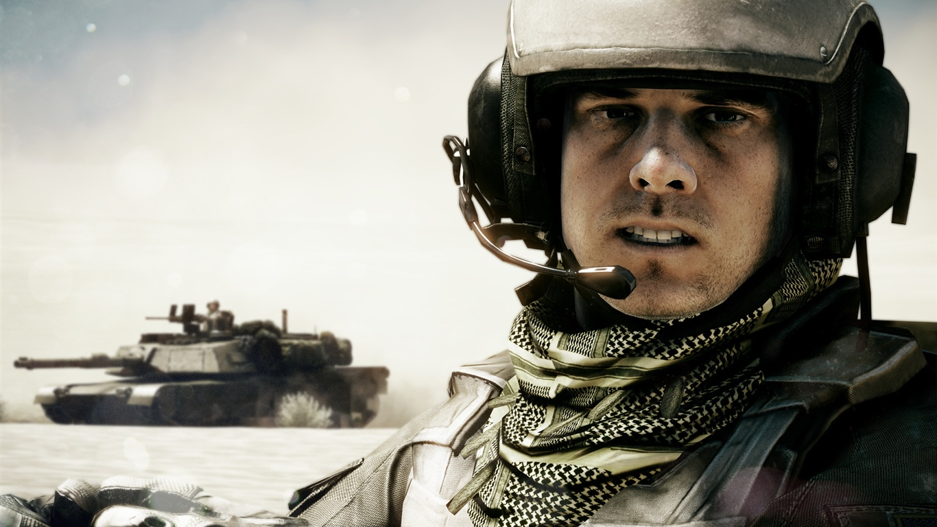 Download Wallpaper 1366x768 Battlefield 3 tank and soldier ...