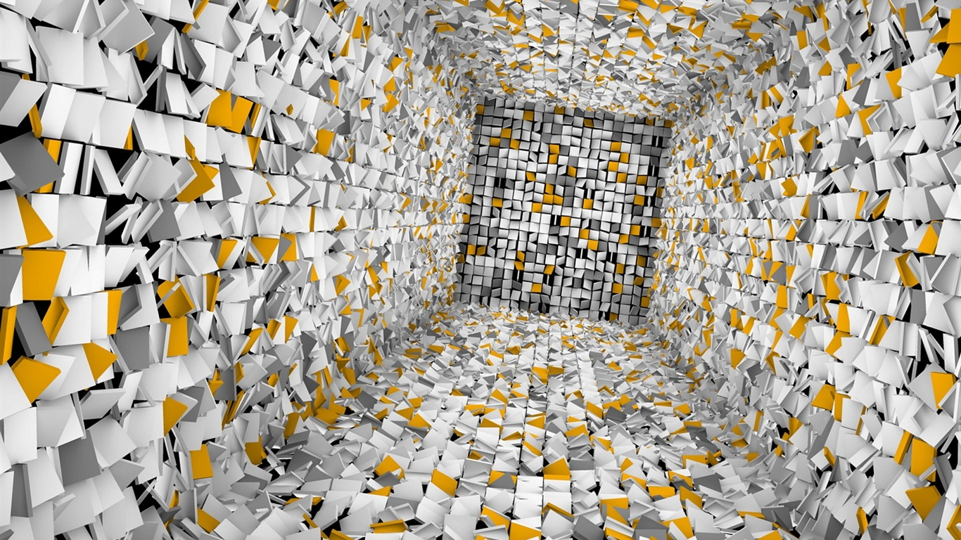 Download wallpaper 1366x768 lost in the abstract 3d room for 3d room wallpaper background