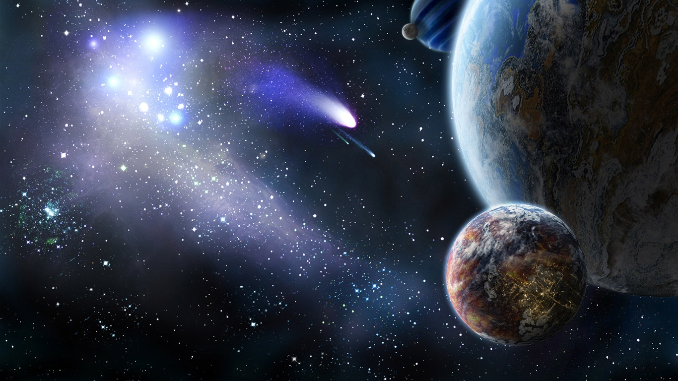Planet and comet in space wallpaper 1366x768 resolution for Space wallpaper 1366x768