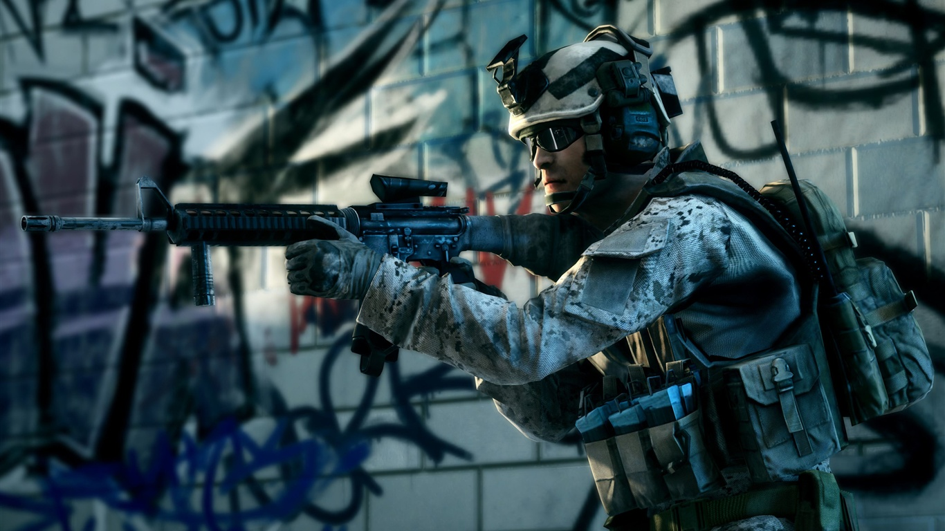 Battlefield 3 Combat soldier wallpaper - 1366x768