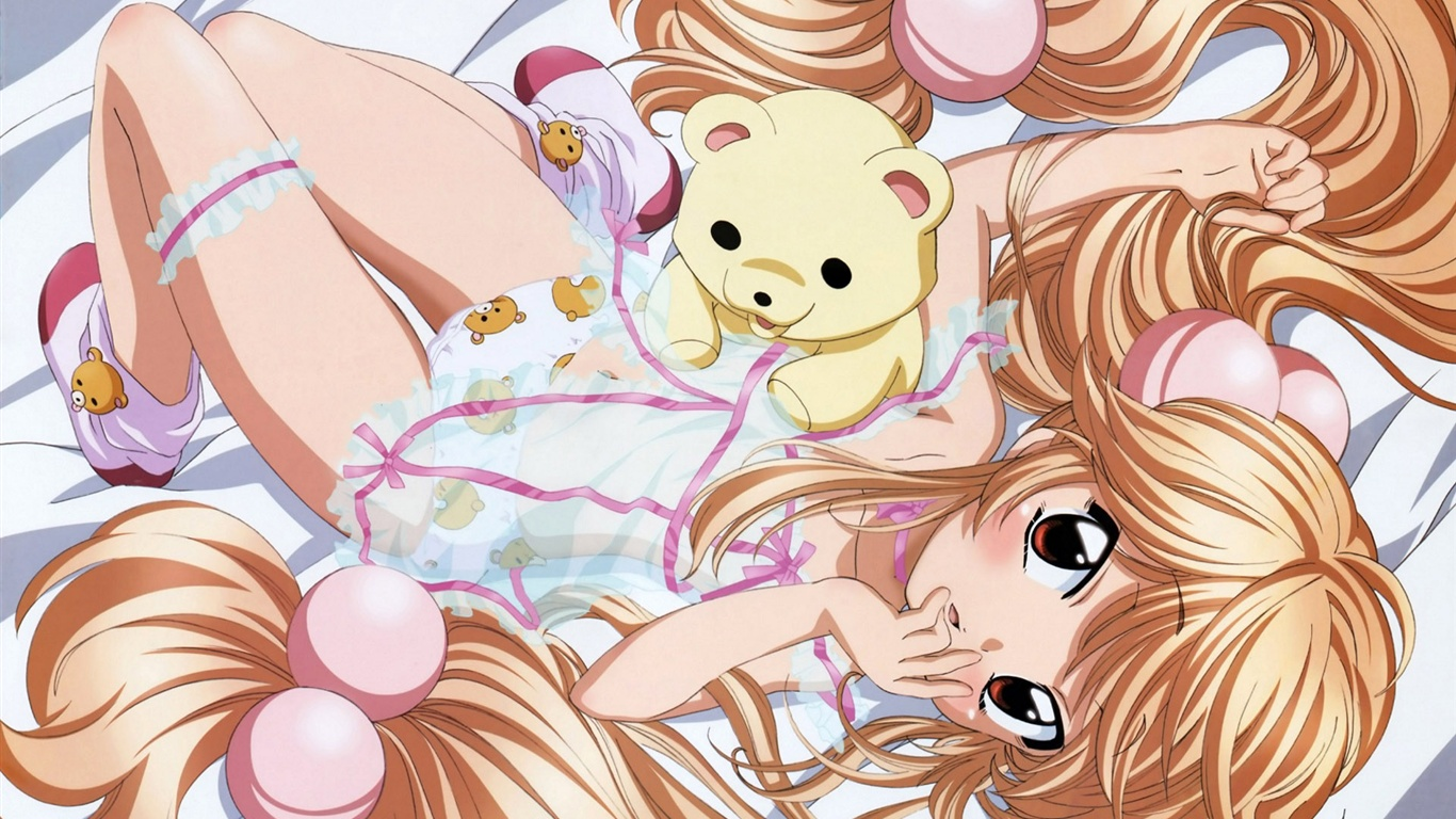 Bed of golden hair anime girl wallpaper 1366x768