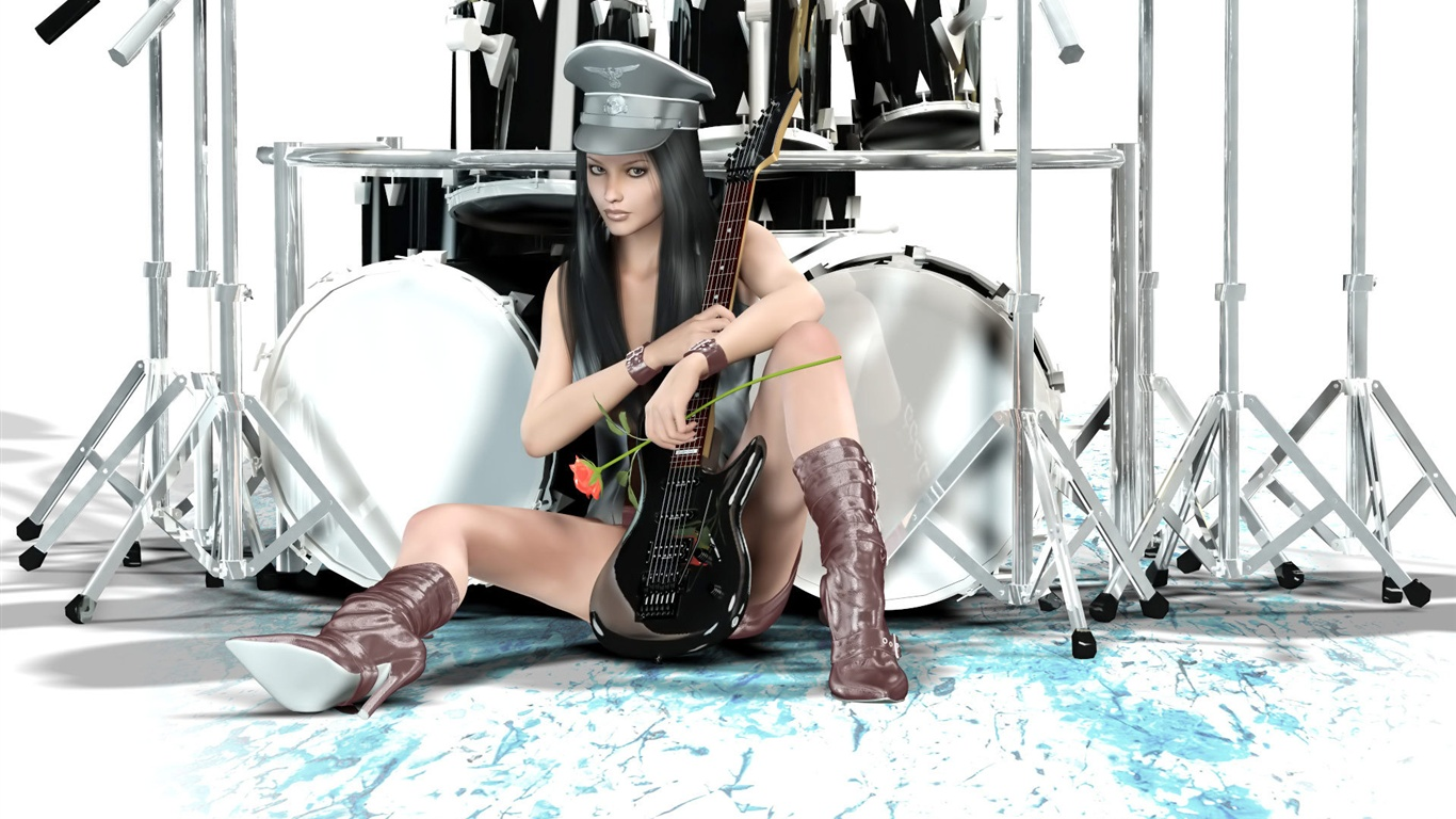 Guitar And Drums Wallpaper Guitar Drums Fantasy Girl