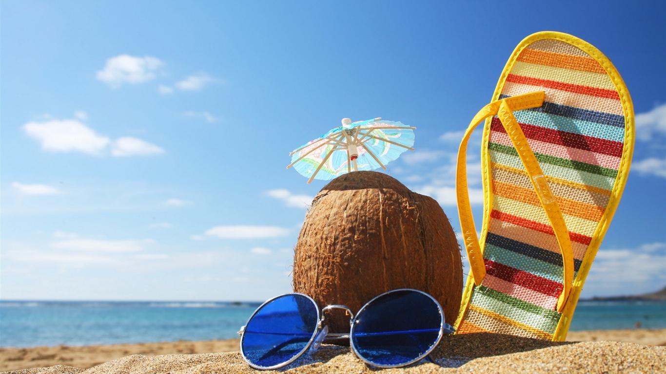Sommer strandurlaub kokosnuss hintergrundbilder - 1366x768