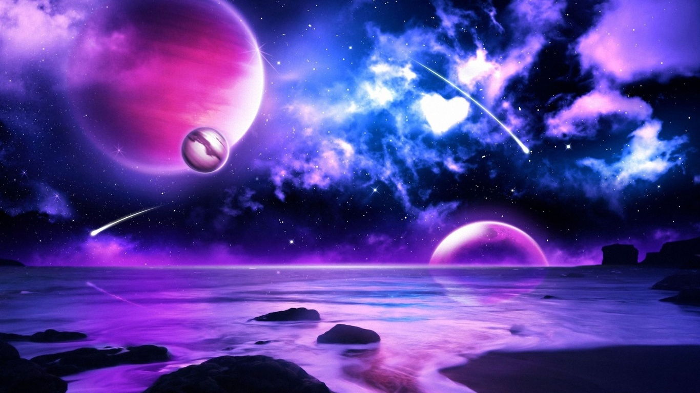 Download wallpaper 1366x768 purple planet meteors in space for Space wallpaper 1366x768