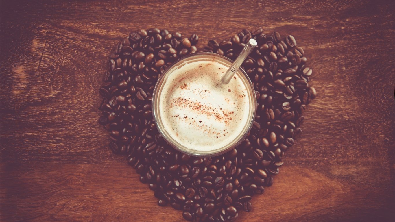 Heart-shaped love of coffee and coffee beans wallpaper - 1366x768
