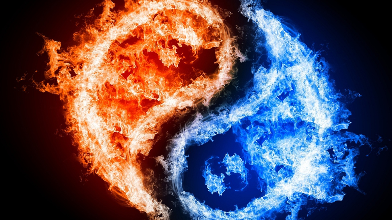 Tai Chi graphic blue and red flames wallpaper - 1366x768