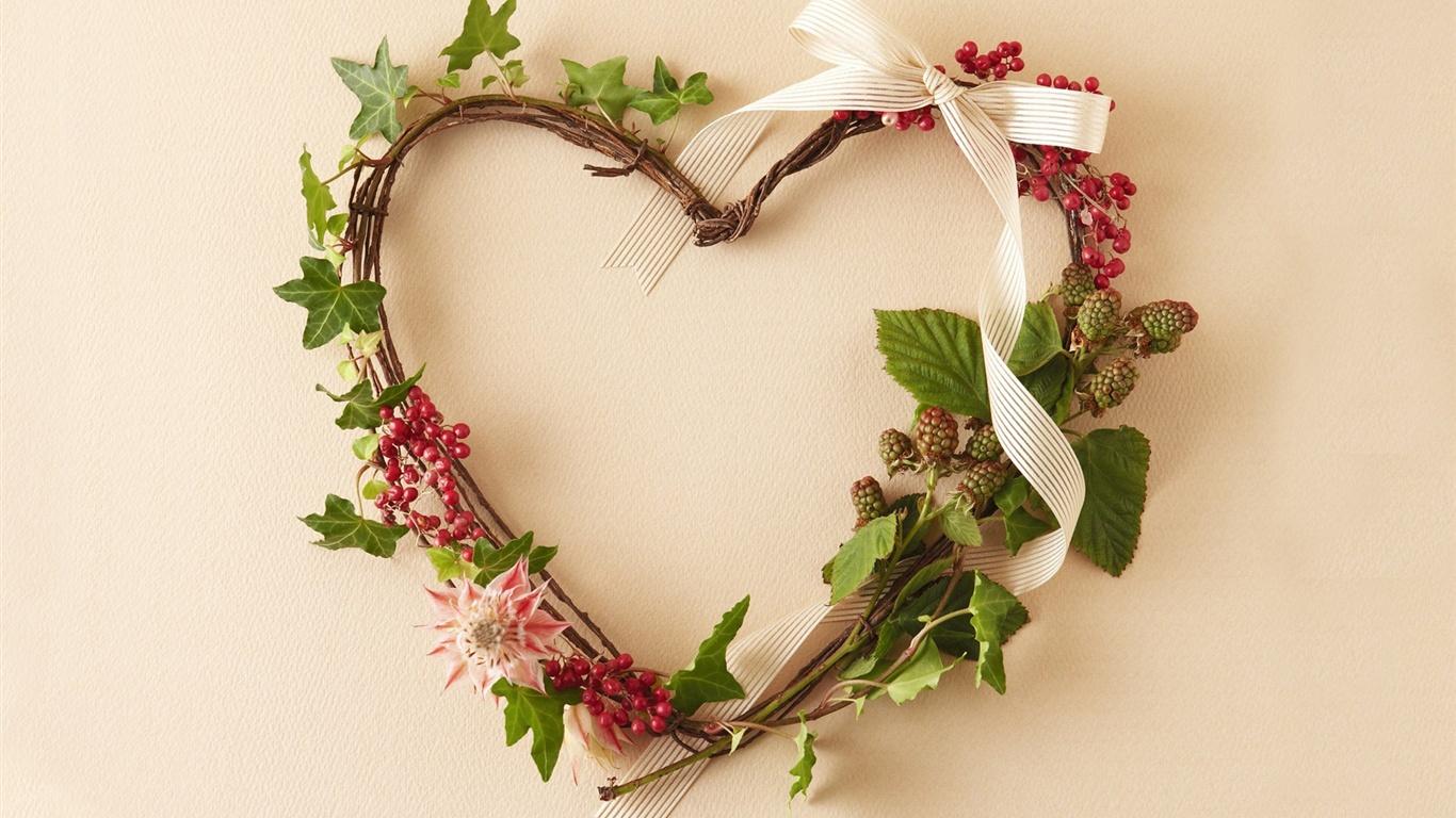 woven heart shaped wreath wallpaper 1366x768 description woven heart ...