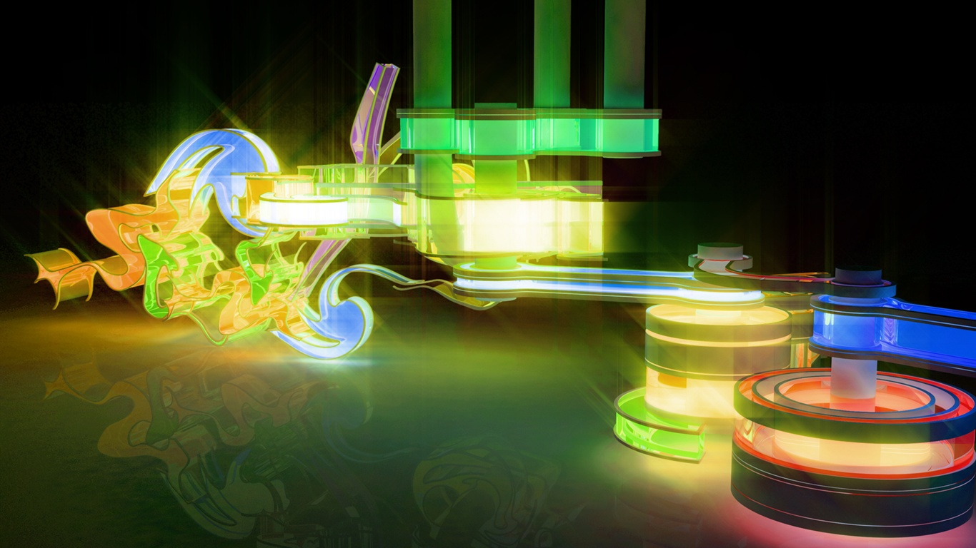 Colorful machine 3D wallpaper - 1366x768