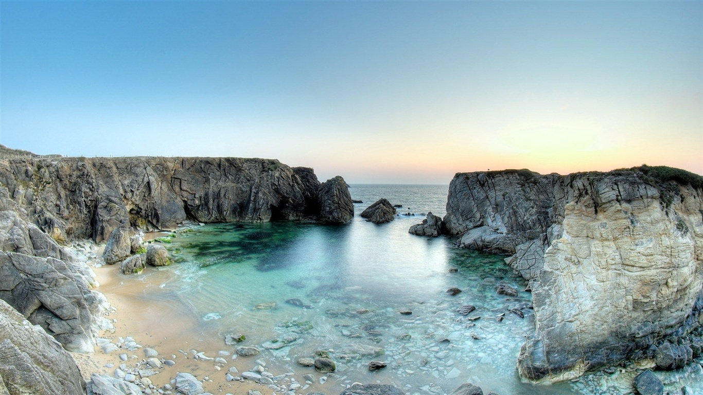 Rocks Beach Sea wallpaper - 1366x768