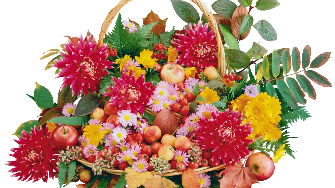 Baskets Of Flowers And Fruit Wallpaper 1366x768