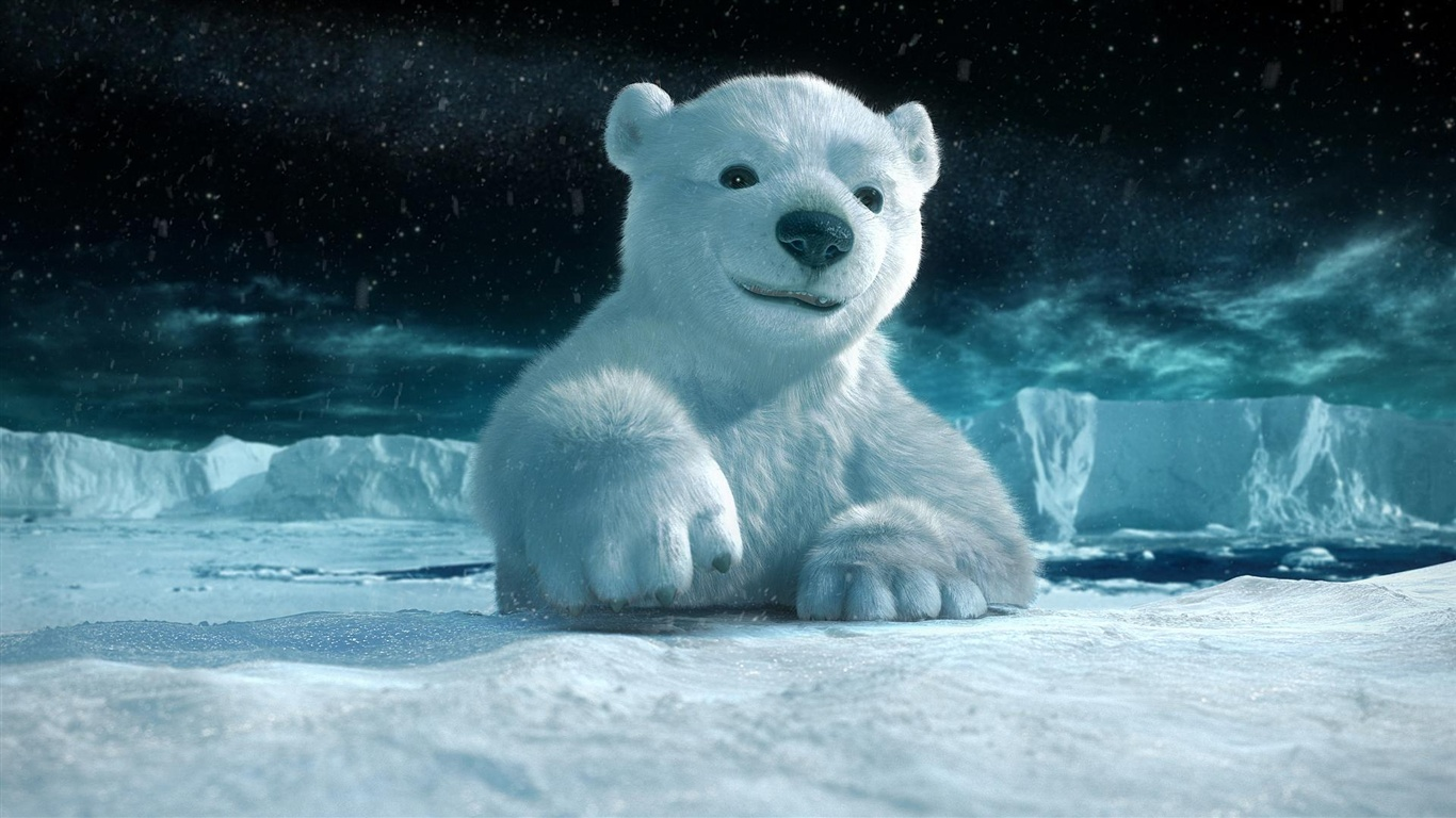 wallpaper 3d animal paintings, polar bear 1920x1080 full hd picture