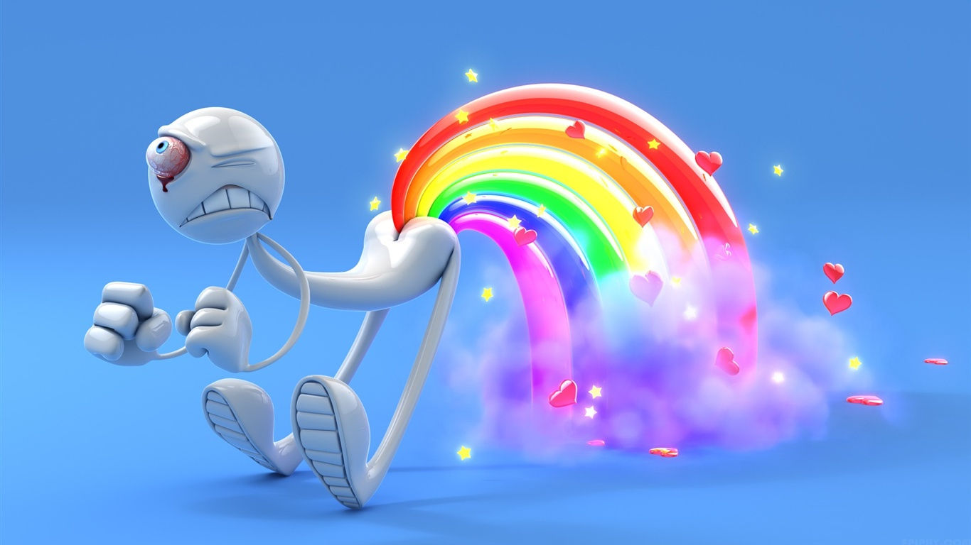3D one-eyed man rainbow wallpaper - 1366x768