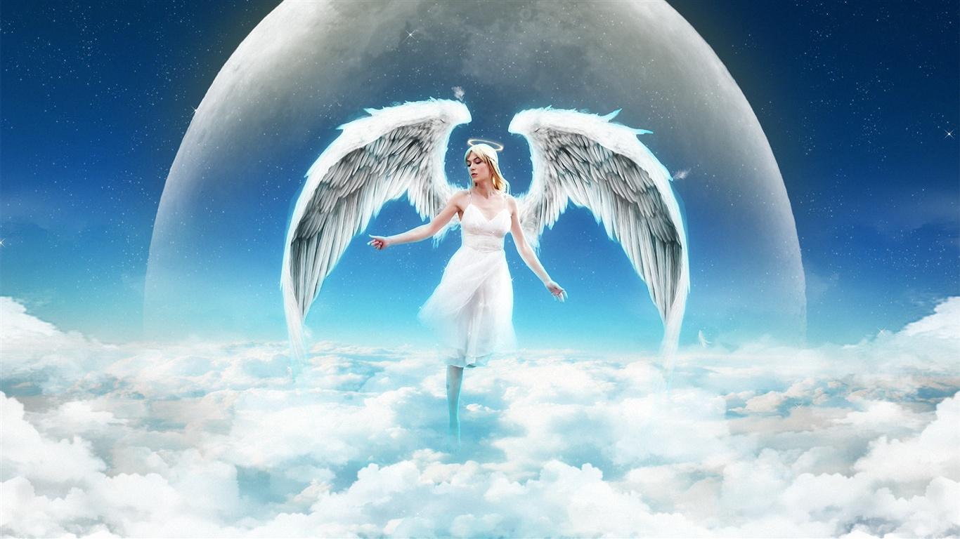 Engel mädchen auf dem himmel, wolken hintergrundbilder - 1366x768