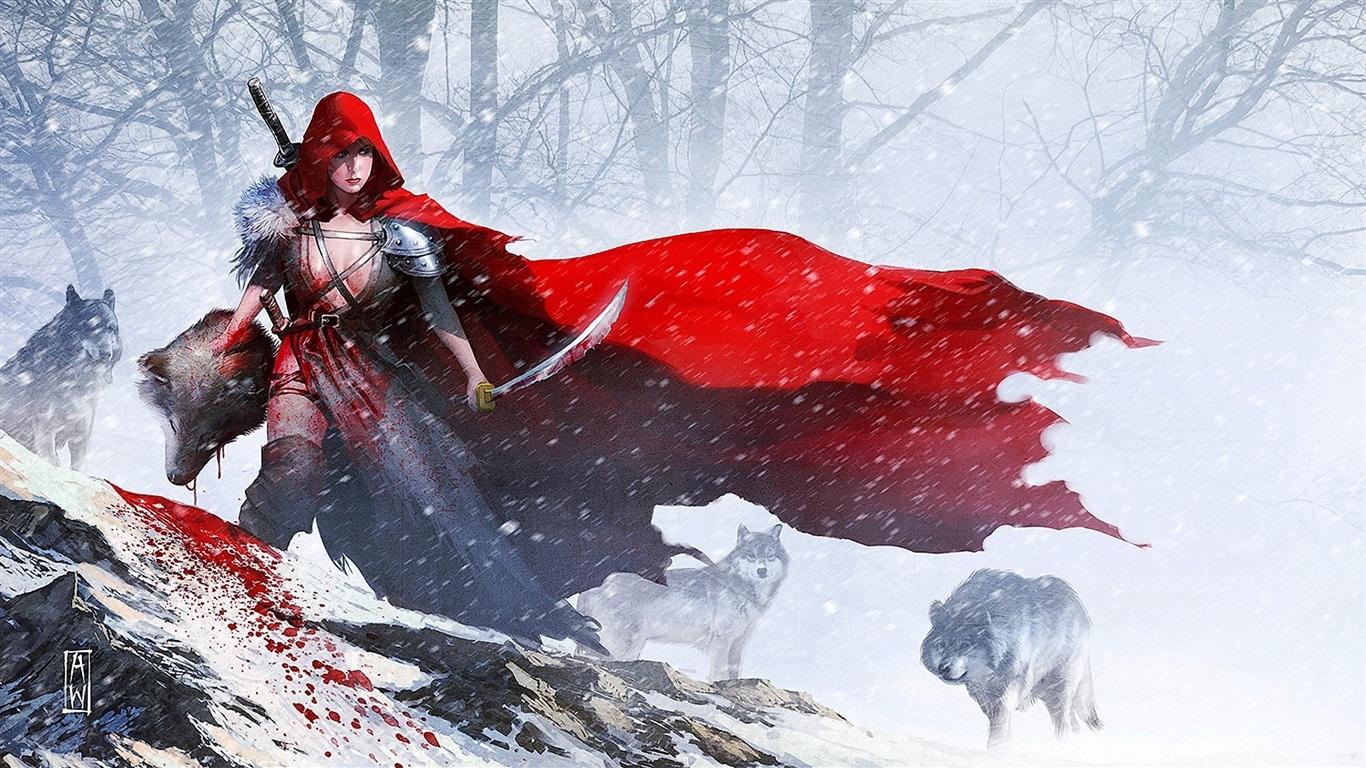 Red cloak girl warrior...