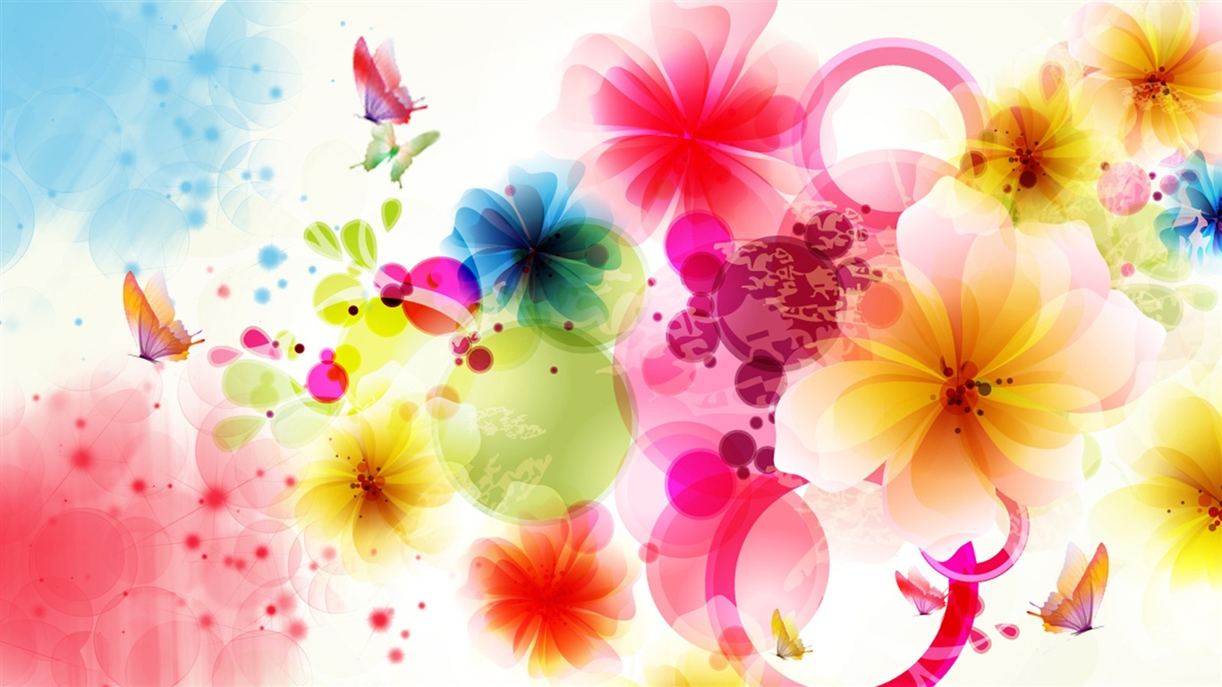 Wallpaper Vector Design Flowers And Butterflies 1920x1080 Full HD Picture Image