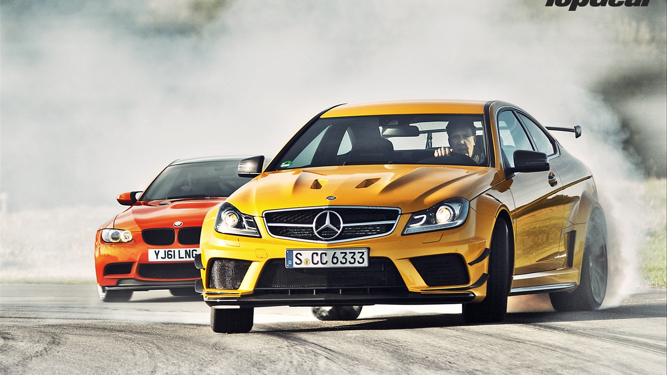 Wallpaper Mercedes Benz C63 Amg Yellow And Bmw M3 Gts Red