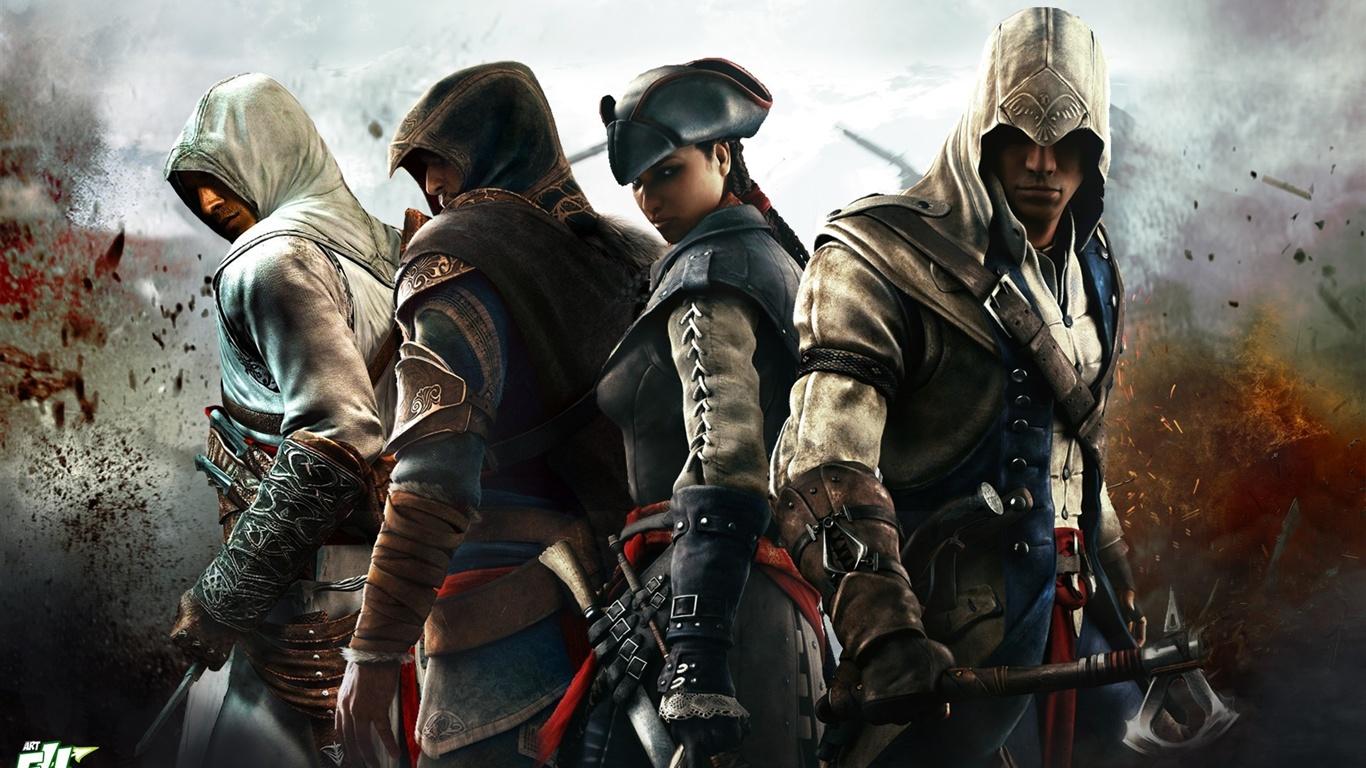 download wallpaper 1366x768 assassins creed 3 four