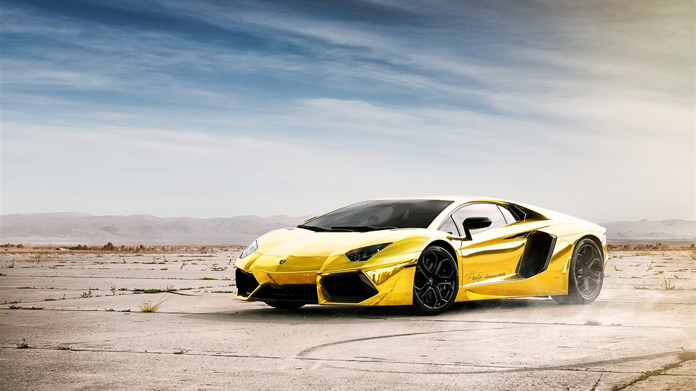 Wallpaper Lamborghini Aventador LP700-4 gold color ...