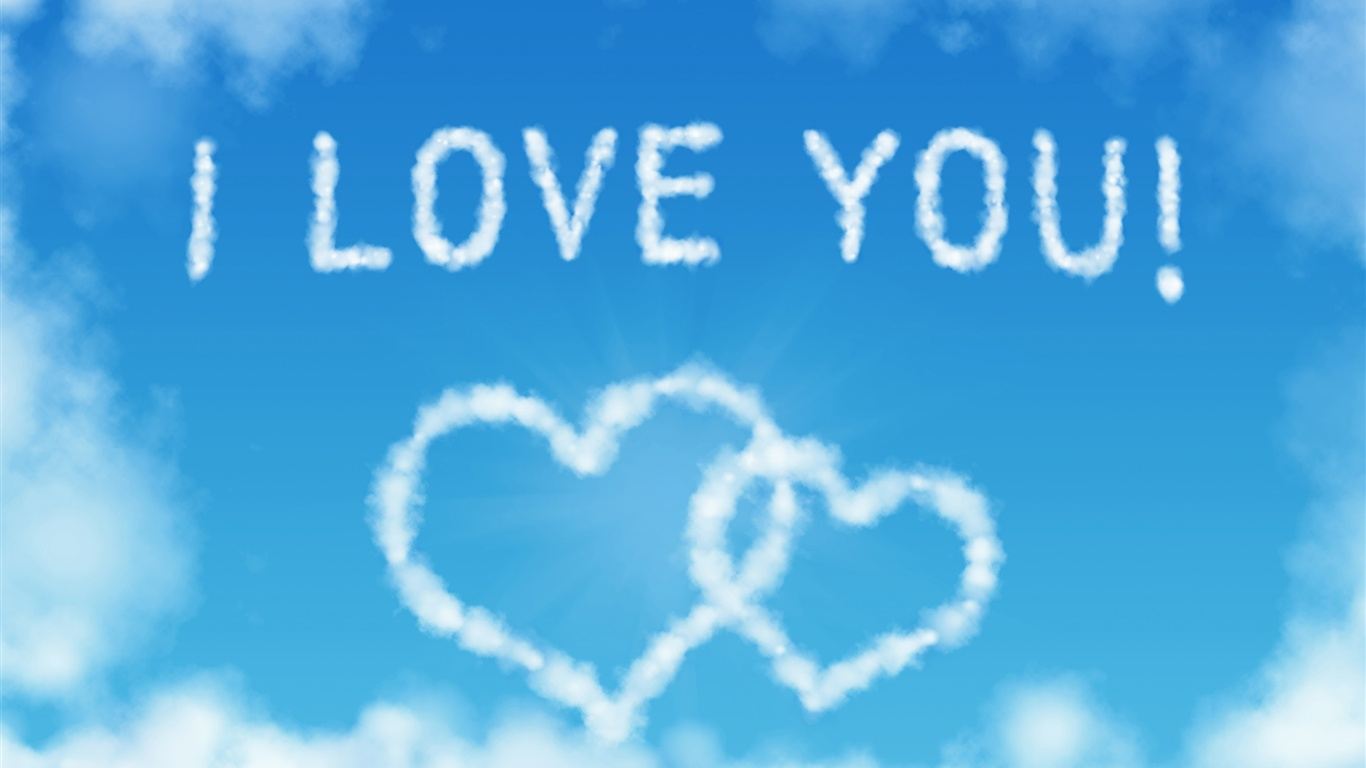 Wallpaper I Love You Heart : Download Wallpaper 1366x768 I Love You, Heart-shaped clouds in the blue sky HD Background