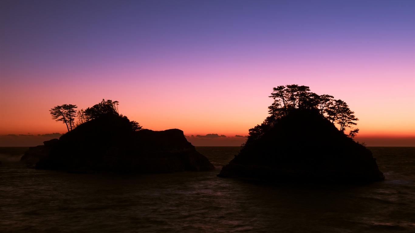 日本、静岡県、海、岩、木、夕方、日没、紫の空 壁紙 - 1366x768   日本、静岡県、海、