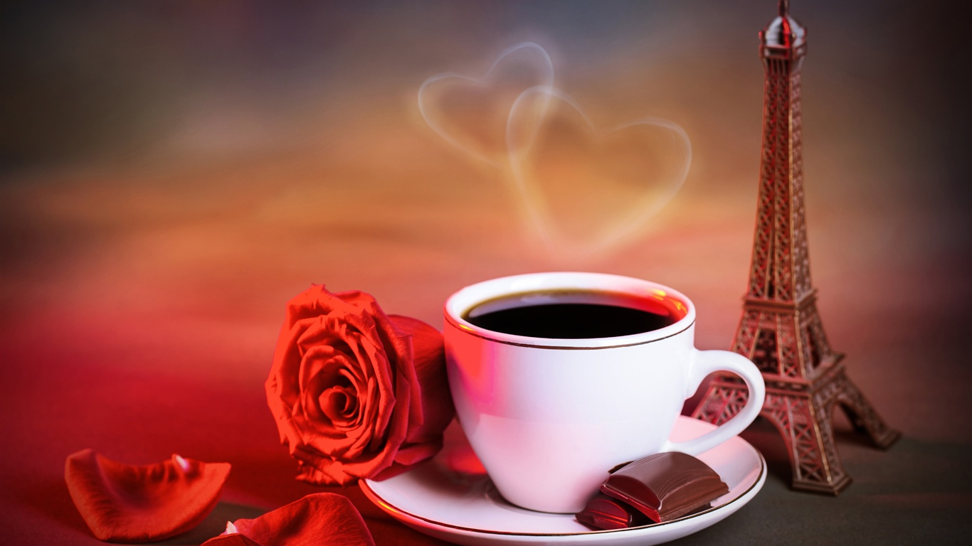 Red rose, cup of coffee, love hearts, warm style Wallpaper ...