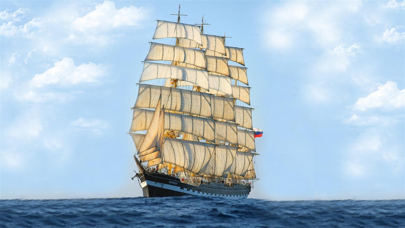 帆船,大海,蓝天 壁纸 |