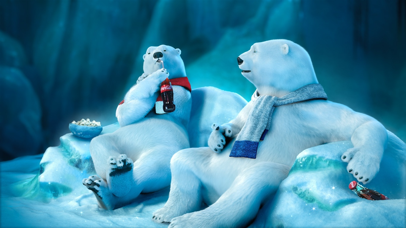 polar bear drinking coca cola wallpaper 1366x768 description polar ...: https://best-wallpaper.net/Polar-bear-drinking-Coca-Cola_1366x768.html